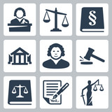 Vector law and justice icons set