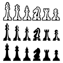 Vector chess pieces icons set