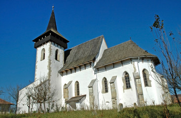 Protestant church in Sintereag (Somkerek). Transylvania, Romania