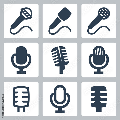 Vector isolated microphone icons set