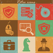 Antivirus icons,Vintage version,vector