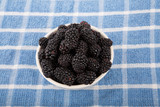 Blackberries on Blue Towel