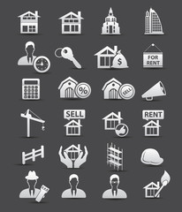 Real estate icons,Dark version,vector