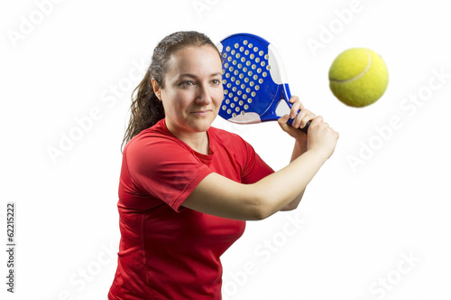 woman swatting the ball