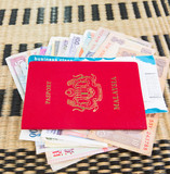 Passport and Currency on Wicker Mat