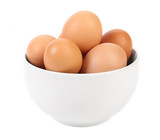 Bowl with brown eggs.