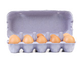 Ten eggs in a blue carton box.