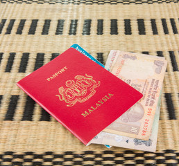Malaysian passport with Indian currency
