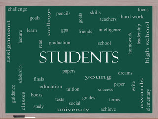 Students Word Cloud Concept on a Blackboard
