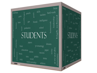 Students Word Cloud Concept on a 3D cube Blackboard
