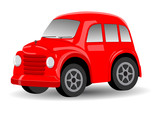 Red Retro / Vintage Car Cartoon - Vector Illustration