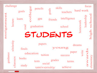 Students Word Cloud Concept on a Whiteboard