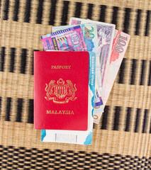 Malaysian passport with Hong Kong currency