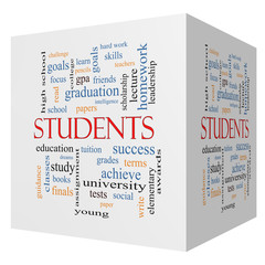 Students 3D cube Word Cloud Concept