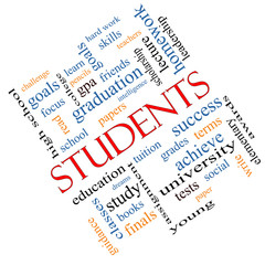 Students Word Cloud Concept Angled