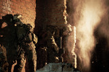 U.S. Marines hiding from explosion