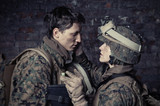 Portrait of loving each other U.S. Marines. Love in war.