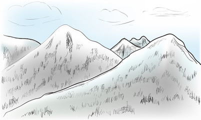 hill landscape sketch illustration