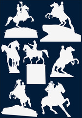 set of horseman statues isolated on blue