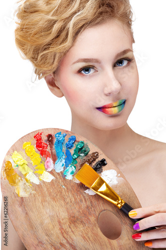 woman with palette