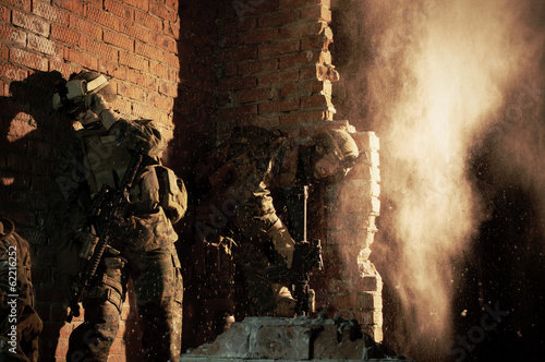 U.S. Marines hiding from explosion Poster