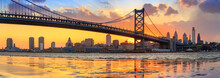 "Постер, картина, фотообои ""Panorama of Philadelphia skyline, Ben Franklin Bridge and Penn"