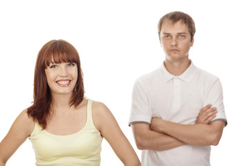Close-up portrait of young couple,isolated on white background.