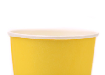 Yellow colorful paper coffee cup.