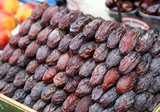 dried dates evenly spread at the market