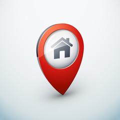icône épingle punaise marqueur carte maison