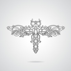 Dragonfly shaped ornament vector illustration