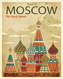 Vintage Travel to Moscow Poster