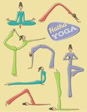 Set of Hand Drawn Yoga Poses