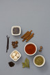 Spices on gray background