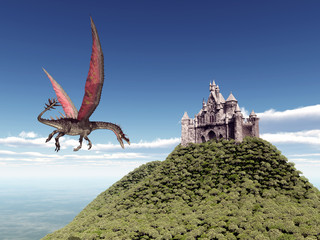 Castle and Flying Dragon