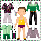 Paper doll with a set of fashionable clothing. Cute trendy boy.