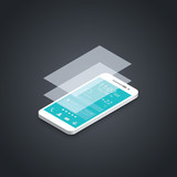 Mobile phone flat user interface development vector