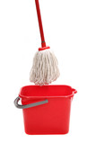 Red bucket with cleaning mop.