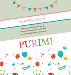 Jewish holiday Purim hipster greeting card design