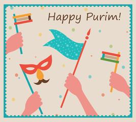 Happy Purim. Party or festival  Invitation design