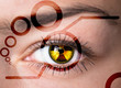Human eye with radiation hazard symbol - concept photo.