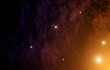 Space background with orange nebula and stars.