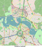 Canberra Australia city hi res aerial view map