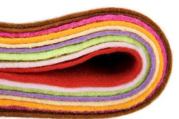 Multicolored felt fabric folded