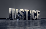 metallic typography of the word Justice