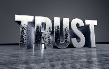 metallic typography of the word Trust