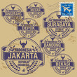 Grunge rubber stamp set with names of Indonesia cities