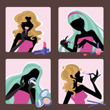silhouette of girls with cosmetic