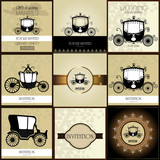 Set of  Vintage car Wedding Invitation
