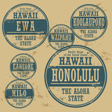Grunge rubber stamp set with names of Hawaii cities